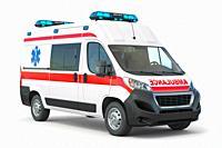 Ambulance car isolated on white. 3d illustration.