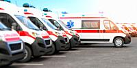Ambulance cars in a row on a parking. 3d illustration.