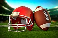 American football ball and helmet on the grass of football arena or stadium. 3d illustration.