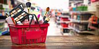 Cosmetics in shopping basket on shelf in shop. Beauty and make up products sale and purchasing online concept. 3d illustration.