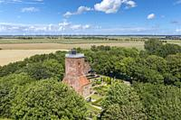 Aerial view with the Ox Tower as the rest of the former medieval church, Imsum district of Langen, Lower Saxony, Germany, Europe.