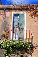 balcony of ruined house, Blanes, Catalonia, Spain