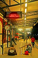 platform of the train station at night, Blanes, Catalonia, Spain