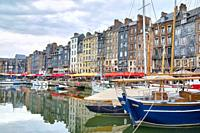 The Honfleur harbor in Normandy, France.