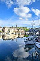 Docked boats at the Honfleur harbor, Normandy, France.