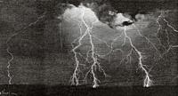 Engraving from a photograph of lightning taken by Alfred H. Binden in Wakefield, Massachusetts, on June 23, 1888. United States. Old 19th century engr...
