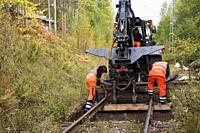 Track renovation in Ängelsberg. The sills are replaced on the railway track.