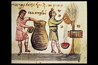 Beekeeping scene at medieval codex. Cynegetica of Pseudo-Oppian. Didactic epic poem on hunting. 11th Century.
