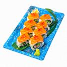 take away selection of fresh sushi express on plastic tray.