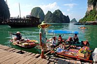 Floating market, vendor in boat with food, Halong Bay, Vietnam