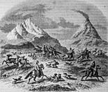 guanacos hunting in the vicinity of the Antuco volcano, the picturesque store by mr. edouard charton 1870.