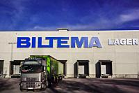 Halmstad, Sweden, A truck unloading at the Biltema warehouse in Halmstad.