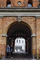 Halmstad, Sweden, People walking through Norre Port, or the Northern gate,.