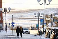 Kiruna, Sweden People walking on Lars Janssonsgatan in downtown.