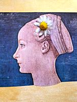 Women in Art, portrait of young woman painted by Antonio Pollaiolo in the year 1465, with a daisy on golden background.