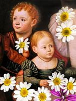 Children in Art, portrait of boy and girl painted by Bernardino Licinio in the year 1532 and eight daisies flowers.