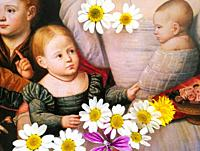 Children in Art, portrait of girl and baby painted by Bernardino Licinio in the year 1532 and eight daisies flowers.