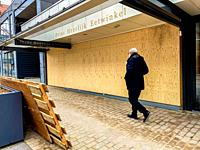 Tilburg, Netherlands. A delicatesse food store closed down due to the Corona Crisis Economical Lock Down.