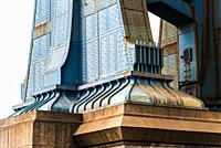Detail of Pillar of Manhattan Bridge in New York City. Steel Abutment With Bolt and Rivet Connections. Engineering and architecture.