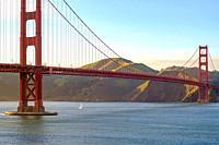 Golden Gate Bridge at dusk in March 2017.
