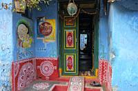 Jeypore, India - February 2021: A facade decorated with rangoli on a street in Jeypore on February 26, 2021 in Odisha, India.