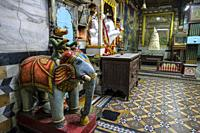 Indore, India - March 2021: Detail of the interior of a Jain temple in Sarafa Bazaar on March 12, 2021 in Indore, Madhya Pradesh, India.