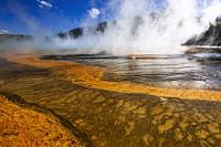 Steam rising off Grand Prismatic Spring, Yellowstone National Park, Wyoming USA.