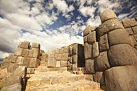 View to the massive stone bloks at Saqsaywaman Archaeological Site, Cusco, Peru, South America.