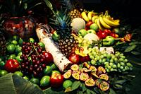 Display of fruit on table.