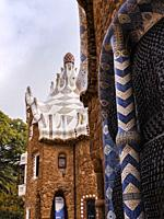 Side view of Porter's Lodge and residence (Casa del Guarda) in Parc Guell, Barcelona, Catalonia, Spain, Europe. The buildings were designed and built ...