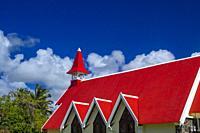 Red roof of church (Notre Dame Auxiliatrice), Cap Malheureux, Mauritius.