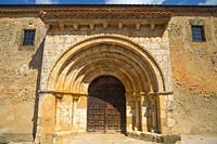 Facade of Santa Isabel church. Osona, Soria province, Castilla Leon, Spain.