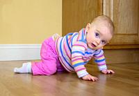 7 Month Old Baby Girl Learns to Crawl.