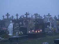 Poland. Cemetery at dawn