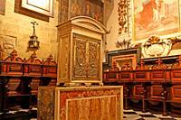 tabernacle and baroque stalls in the Chapel of San Pedro, Catedral de Santa Maria, La Seu, Valencia, Spain