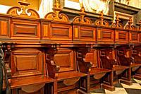 Baroque stalls in the Chapel of San Pedro, Catedral de Santa Maria, La Seu, Valencia, Spain