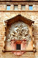 church window of the San Juan del Mercado or Real Parroquia de los Santos Juanes, Valencia, Spain