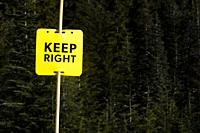 Keep right sign at Hollyburn cross country ski area at Cypress Mountain, Cypress Provincial Park, near West Vancouver, BC, Canada.