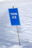 thin ice sign at cross country skiing area of Hollyburn, Cypress Mountain, Cypress Provincial Park; British Columbia; Canada. near West Vancouver.