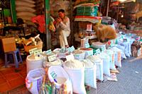 Rice, Jasmine Rice and Food store in the Market, siem reap, combodia