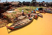 Kampong Phulk when dry season, Tonle Sap lake, Siem Reap, Cambodia
