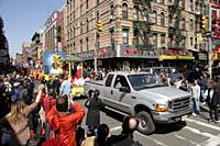 A Buddhist parade in Chinatown, Manhattan, New York. USA.