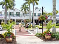 Venice Avenue in the downtown shopping restaurant area in the southwest Florida city of Venice Florida USA.