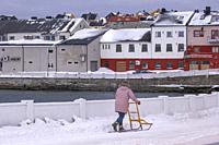 Europe, Scandinavia, Norway, Varanger Fjord, Vardo, moving with a sledge.