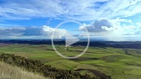 Rural and agricultural green cereal landscape in a time lapse view. Navarre, Spain, Europe.