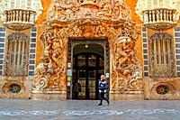 facade of the Palau del Marquès de Dosaigües by the sculptor Ignacio Vergara, Baroque and Rococo civil building, home of the Museum of Ceramics, Valen...