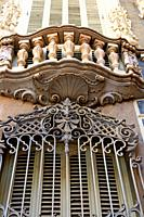 window and balcony detail of the Palau del Marquès de Dosaigües, baroque and rococo civil building, headquarters of the Museum of Ceramics, Valencia, ...