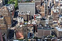 Aerial View of Manhattan. . Residential blocks from above. Travel to New York City, business and economy concepts.
