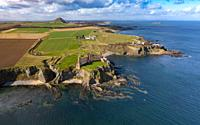Aerial view of Tantallon Castle on cliffs above Firth of Forth in East Lothian, Scotland, UK.