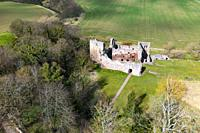 Aerial view of Hailes Castle beside River Tyne in East Lothian, Scotland, UK.